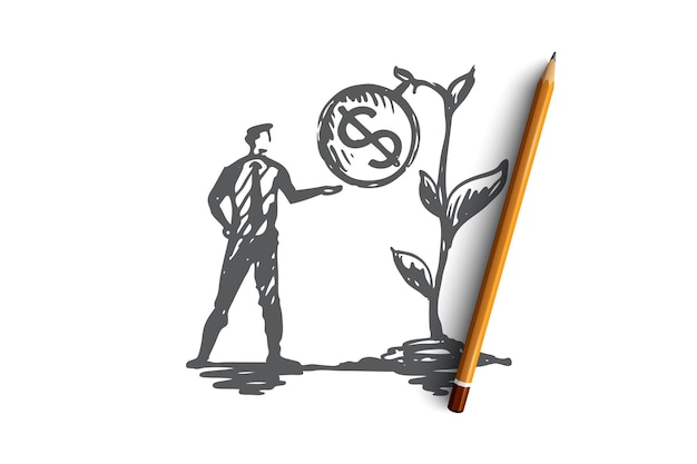Results, money, plant, profit, income concept. hand drawn businessman and growing income concept sketch.   illustration.