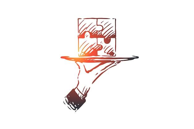 Результаты, головоломка, соединение, решение, концепция совместной работы. ручной обращается головоломка завершена, символ эскиза концепции результата.