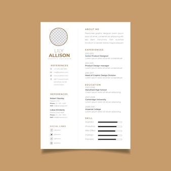 Resume design template minimalist cv. business layout vector for job applications.