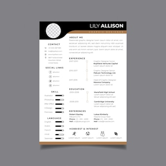 Resume design template minimalist cv