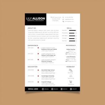 Resume design template minimalist cv