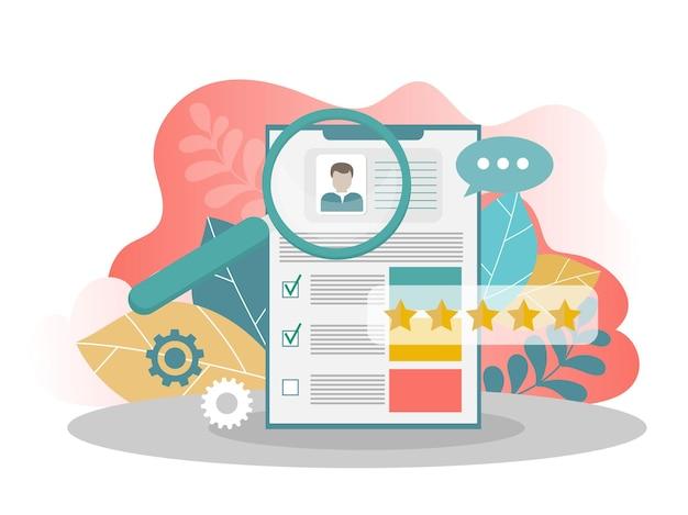 履歴書。就職活動と採用のコンセプト。人事管理。応募フォーム求職者。 webバナー、webサイト、印刷物、インフォグラフィックのモダンなフラットデザインコンセプト。創造的なベクトル