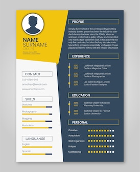 Resume orange and dark blue minimalist