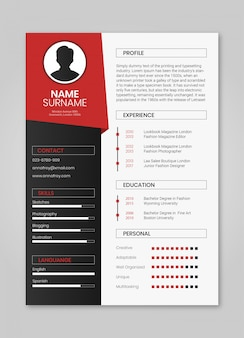 Resume red minimalist