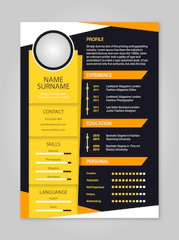 Resume simple yellow and orange