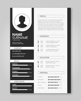 Resume template creative balck