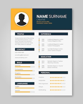 Resume template orange minimalist