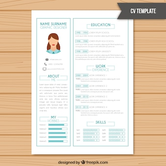 Resume template in white color with light blue details