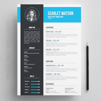 Resume with blue and grey details