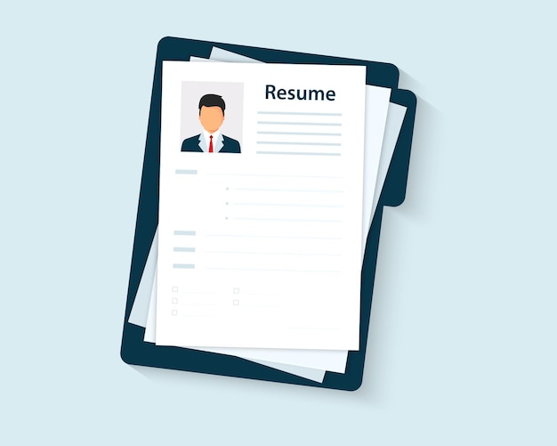 Resumes. cv application. selecting staff. resume template for web landing page, banner, presentation, social media. analyzing personnel resume. recruitment, concept of human resources management