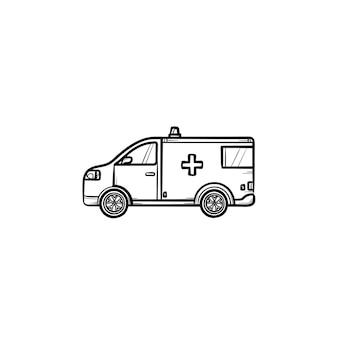 소생술 자동차 손으로 그린 개요 낙서 아이콘입니다. 사이렌 구급차, 긴급 환자가 있는 차에 있는 구급대원. 긴급 서비스 개념