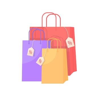 Розничные сумки со скидкой плоский цветной объект. специальные предложения покупок. пакеты с невысокой стоимостью. ценники. сезонная распродажа изолированных иллюстрация шаржа для веб-графического дизайна и анимации