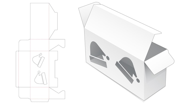 Retail box with christmas hat shape window die cut template