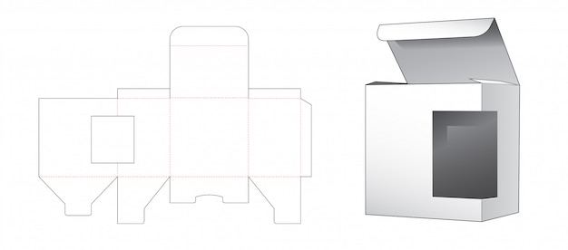 Retail box with side window die cut template