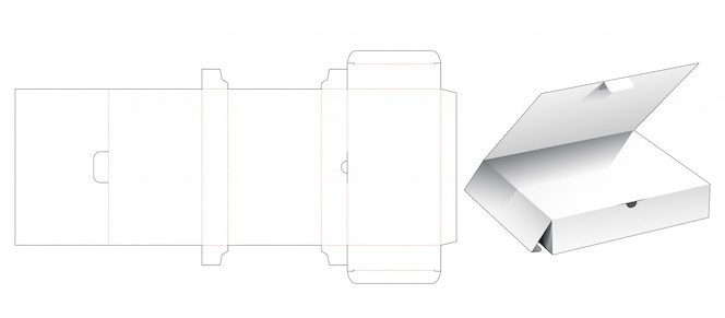 Retail box with top flap die cut template