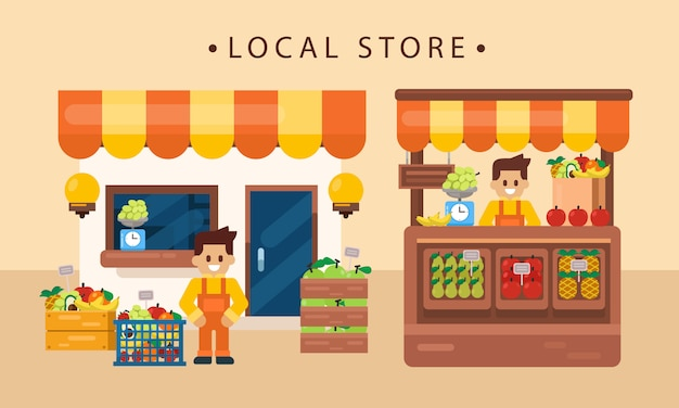 Retail business concept, local fruits product with shopkeeper, store front. flat vector illustration