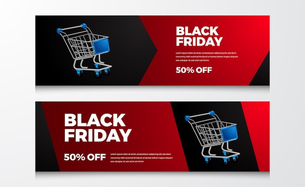 Retail commerce sale discount offer banner for black friday event template