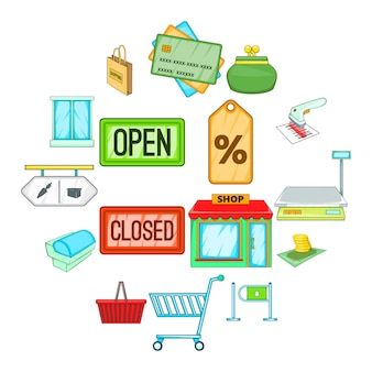 Retail icons set, cartoon style