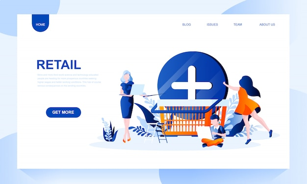 Retail landing page template with header