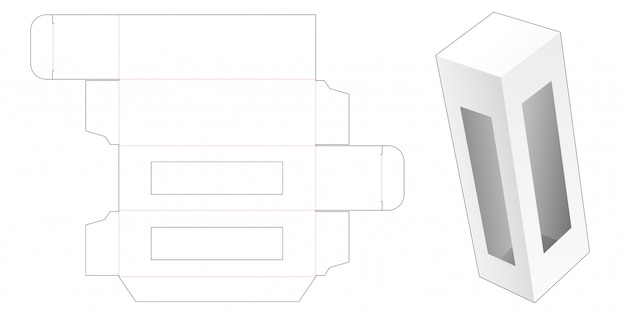 ウィンドウダイカットテンプレート付きの小売包装箱