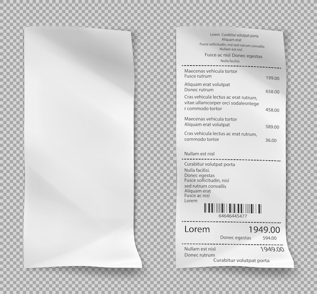 Retail purchase bill. supermarket shopping receipt.