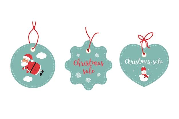 Теги, связанные с торговой маркой и расценки. праздничный рождественский дизайн. санта-клаус, снежинки и снеговик