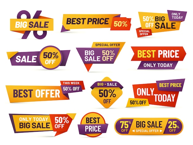 Retail sale tags. cheap price flyer, best offer price and big sale pricing tag badge  isolated  collection