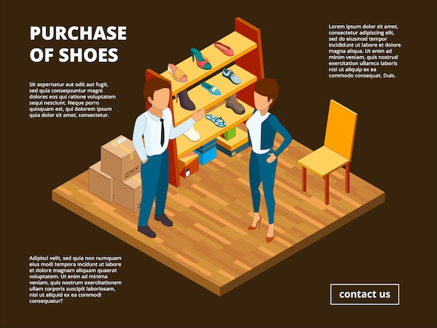 Retail shoe market banner, shop store of foot for male and female dressing room interior casual clothes isometric