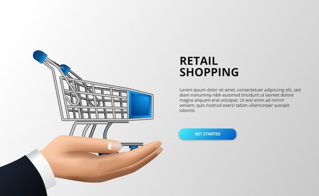 Retail shopping concept with 3d trolley on the hand businessman. abstract spending cart at mart or store.