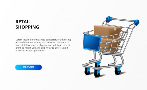 Retail store shopping concept with trolley illustration and box cardboard package. market research business.