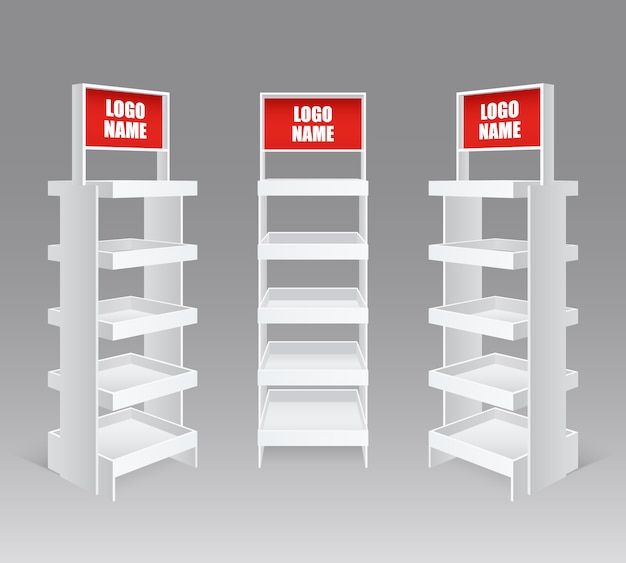 Retail trade stand realistic set