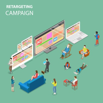 Плоская изометрическая концепция кампании ретаргетинга.