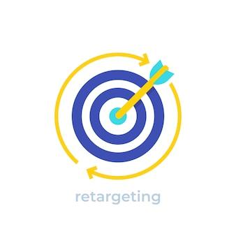 Ретаргетинг, значок вектора концепции цифрового маркетинга