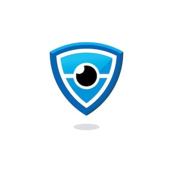 Сканер сетчатки глаза безопасный дизайн логотипа вектор