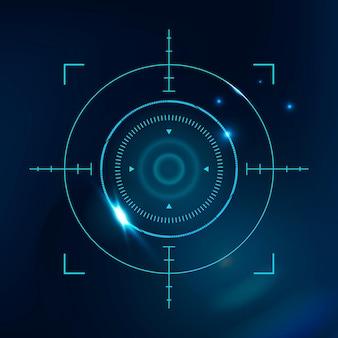 Tecnologia di sicurezza informatica con scansione biometrica retinica in tonalità blu