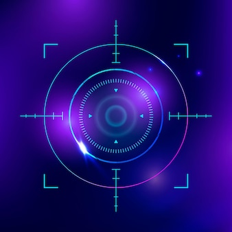 Биометрическое сканирование сетчатки глаза, вектор, технология кибербезопасности