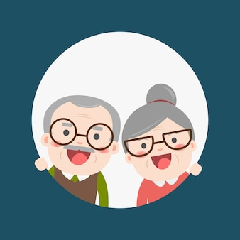 은퇴 한 노인 수석 나이 커플 캐릭터 디자인. 할아버지와 할머니.