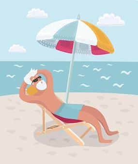 ビールを飲みながらビーチチェアに座って休暇中の引退した男