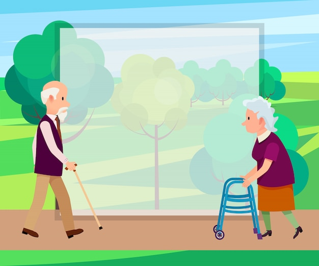 Retired man with walking stick and senior woman