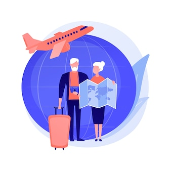 Retired people travel. pensioners vacation, elderly couple trip, old age active lifestyle. senile spouses planning journey route, choosing destination.