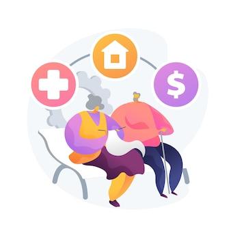 退職と不動産管理。健康保険、住居の選択、経済的利益。老夫婦、高齢者貯蓄プラン。ベクトル分離概念比喩イラスト