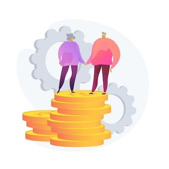 Pianificazione del budget pensionistico. sicurezza del risparmio, sicurezza del deposito bancario, investimento redditizio. coppia di anziani, pensionati che risparmiano denaro per il futuro. illustrazione della metafora del concetto isolato di vettore