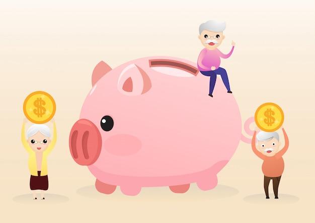 Концепция выхода на пенсию. старик и женщина с золотой копилкой. проведение пенсионных накоплений розовый поросенок. экономия денег на будущее. вектор, иллюстрация