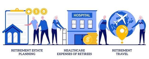 Планирование пенсионного имущества, расходы на здравоохранение пенсионеров, концепция пенсионных путешествий с крошечными людьми. льготы для пенсионеров, медицинское обслуживание, набор абстрактных векторных иллюстраций туризма.