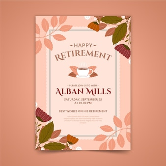 Retirement greeting card template with leaves