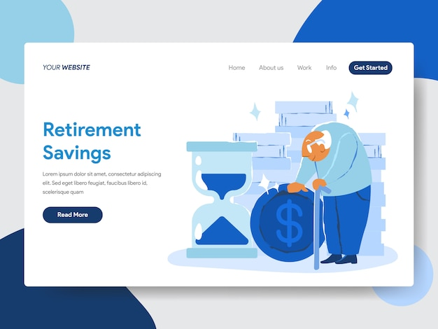 Retirement savings illustration concept for web pages