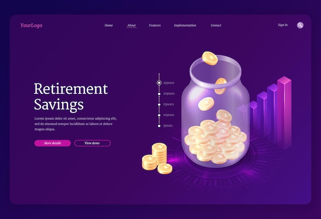 Retirement savings landing page