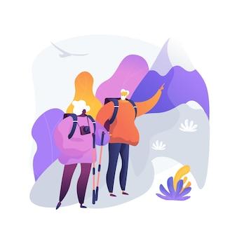 退職旅行。バックパックとカメラで山をハイキングする高齢者のカップル。旅行中の高齢者。観光、レクリエーション、活動。