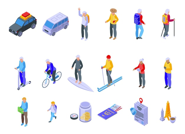 Retirement travel icons set isometric vector. safety insurance. health life
