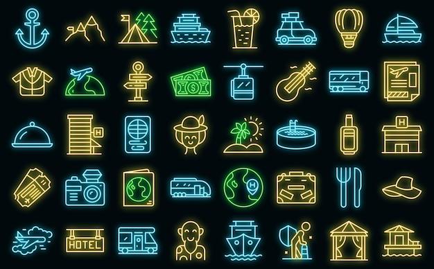 Набор иконок путешествия на пенсию вектор наброски. страхование здоровья. политика медицинских поездок